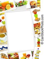 verzameling, van, gezond voedsel, foto's, met, de ruimte van...