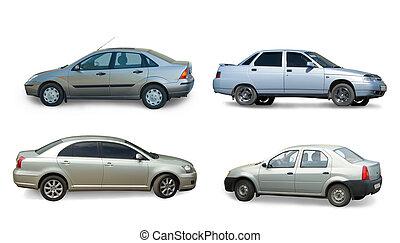 verzameling, van, grijs, auto, op, white., vrijstaand
