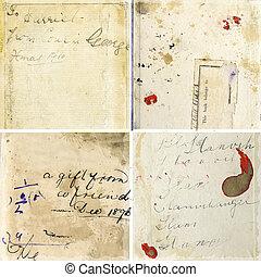 verzameling, van, grunge, papier, texturen, met, ouderwetse , handschrift