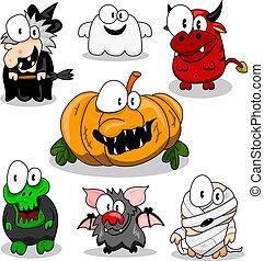 verzameling, van, halloween, schepsels