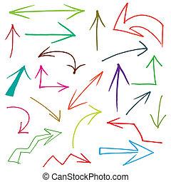 verzameling, van, hand, getrokken, doodle, stijl, pijl, in,...