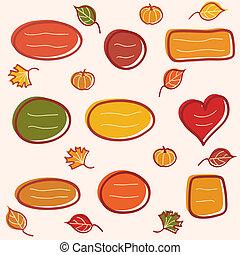 verzameling, van, herfst, tekst, lijstjes