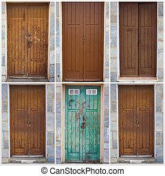 verzameling, van, houten, deuren
