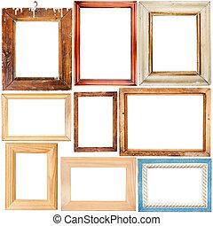 verzameling, van, houten, lijstjes