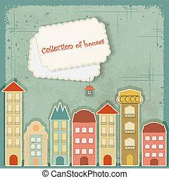 verzameling, van, huisen, op, ouderwetse , achtergrond