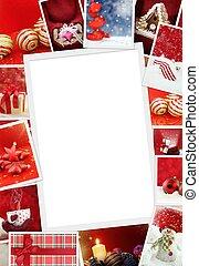 verzameling, van, kerstmis, foto's, met, de ruimte van het exemplaar