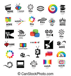 verzameling, van, logos, tv, video, foto, film