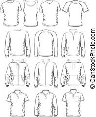 verzameling, van, mannen, kleren, schets, voorbeelden