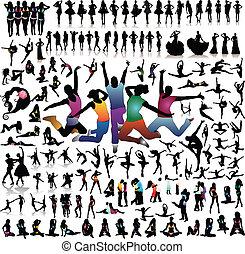 verzameling, van, mensen, .silhouette