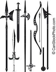 verzameling, van, middeleeuws, wapens