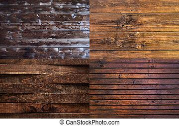 verzameling, van, oud, houten raad, textuur, achtergrond