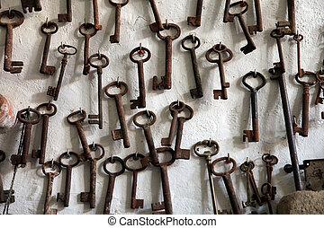 verzameling, van, oud, sleutels