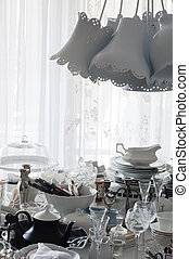 verzameling, van, oud, tableware