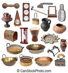 verzameling, van, oud, verweerd, vrijstaand, voorwerpen