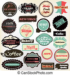 verzameling, van, ouderwetse , etiketten, koffie