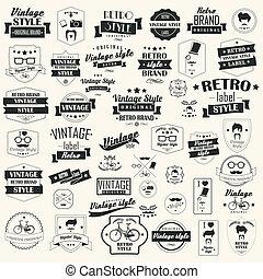 verzameling, van, ouderwetse , retro, etiketten
