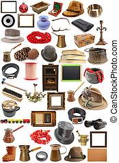 verzameling, van, ouderwetse , voorwerpen