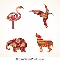 verzameling, van, patterned, boheems, van een stam, voorwerpen, communie, en, iconen