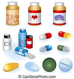 verzameling, van, pillen