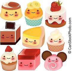 verzameling, van, schattig, dessert