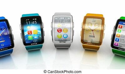 verzameling, van, smart, horloges