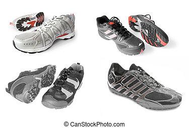 verzameling, van, sport schoenen, vrijstaand, op wit