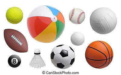 verzameling, van, sportende, gelul, vrijstaand, op wit, achtergrond