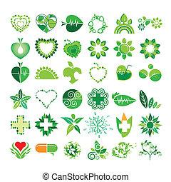verzameling, van, vector, logos, gezondheid, en, de, milieu