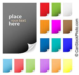 verzameling, van, vector, veelkleurig, papier, met, afpellen, corner., perfect, voor, toevoegen, tekst, design., meer, in, mijn, gallery.