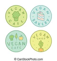 verzameling, van, vegan, bakkerij, koffiehuis, winkel, badges.