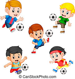 verzameling, van, voetbal, kinderen, speler, met, de, anders, het poseren