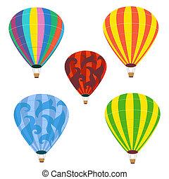 verzameling, van, vrijstaand, ballons