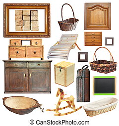 verzameling, van, vrijstaand, oud, houten, voorwerpen
