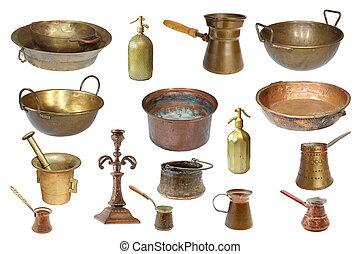 verzameling, van, vrijstaand, ouderwetse , koper, voorwerpen
