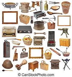 verzameling, van, vrijstaand, ouderwetse , voorwerpen