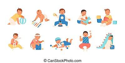 verzameling, van, vrolijke , schattige, baby's, spelend, met, gevarieerd, speelgoed, -, gebouw, uitrusting, bal, rattle., set, van, speels, zuigeling, kinderen, vrijstaand, op wit, achtergrond., plat, spotprent, kleurrijke, vector, illustration.