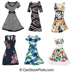 verzameling, van, vrouw, jurkje