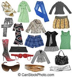 verzameling, van, vrouwtjes, jurkje