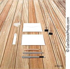 verzameling, van, zakelijk, items, gevarieerd, papieren, papier, ontwerpen, gereed, voor, jouw, message., vector, illustration.