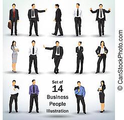 verzameling, van, zakenlui