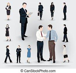 verzameling, van, zakenlui, illustraties