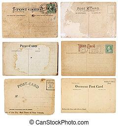 verzameling, van, zes, ouderwetse , postkaarten