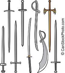 verzameling, van, zwaarden, en, sabers
