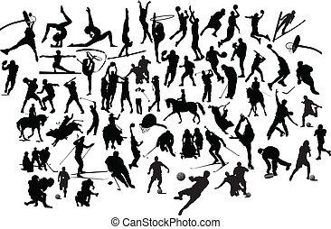 verzameling, van, zwart wit, sportende, silhouettes.,...