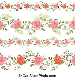 verzameling, vrijstaand, van, seamless, randjes, met, chrysanthemums