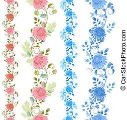verzameling, vrijstaand, van, seamless, randjes, met, mooi en gracieus, chrysanthemu