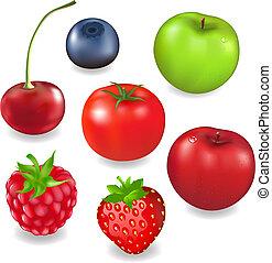 verzameling, vruchten, en, besjes