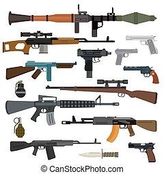 verzameling, wapens, vector