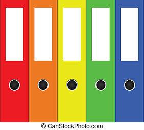 verzamelmappen, kleurrijke