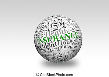 verzekering, bal, 3d